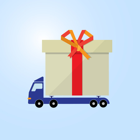 blue motor truck carry gift box