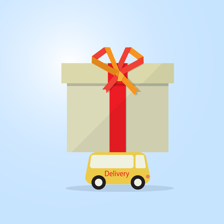 packaging industry: delivery van carry gift box on car roof flat Illustration