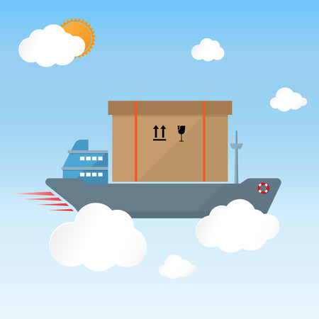 cargo vessel: cargo ship vessel carry goods box on sky fast delivery concept Illustration