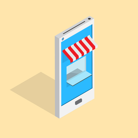 storefront: On line store smart phone with shop awning- vector Illustration