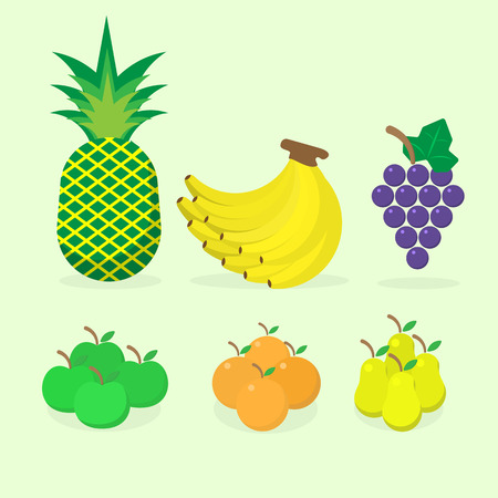 auspicious: 5 Auspicious fruit for make sacrifice to Chinese gods pear, pineapple, grape, orange, banana