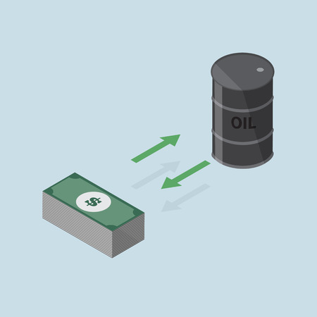 arow: investment concept changing between oil or keep the money -vector