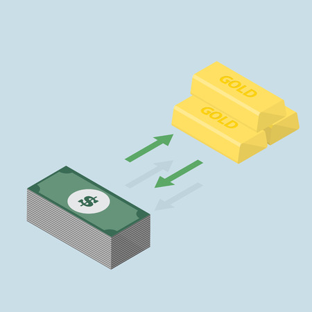 investment concept: investment concept changing between gold or keep the money -vector Illustration