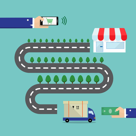 deliver: shopping online with smartphone the way to deliver order to dustomer- vector Illustration