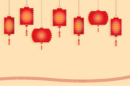 mid autumn: Chinese lantern paper style design for mid autumn festival Illustration
