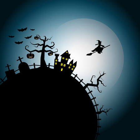 flying witch: Halloween night background flying witch over chateau on white full moon cool sky Illustration