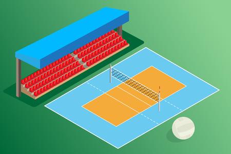 voleibol: campo de voleibol estadio al aire libre con la pelota Vectores