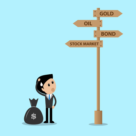 guidepost: investment decision concept businessman with money bag standing confuse at the guidepost where to go