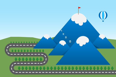 top of mountain: illustration of road to snow on top mountain background