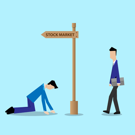 newcomer: newcomer businessman walking to stock market disregard to loss businessman at the guidepost