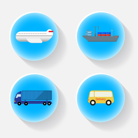 shipping transportation blue icon with shadow , Airfreight, seafreight, truck, van