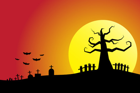 Halloween night background cemetery with full moon bloody sky
