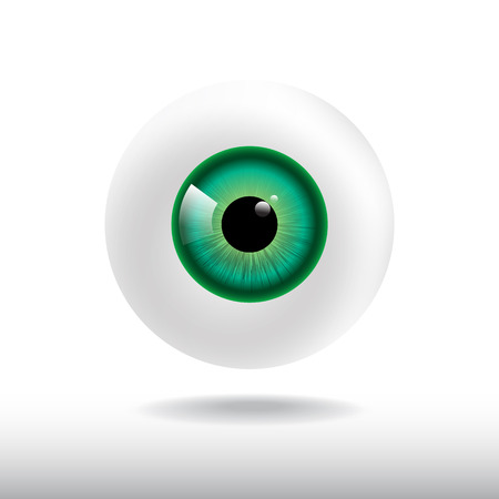 green eye: green eye ball on white background