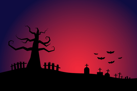 halloween background: Halloween night background cemetery with bloody sky Illustration