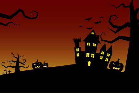 Castillo de Halloween fondo de la noche con el cielo sangrienta