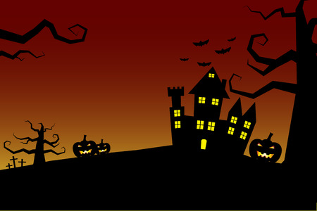 chateau: Halloween night background castle with bloody sky