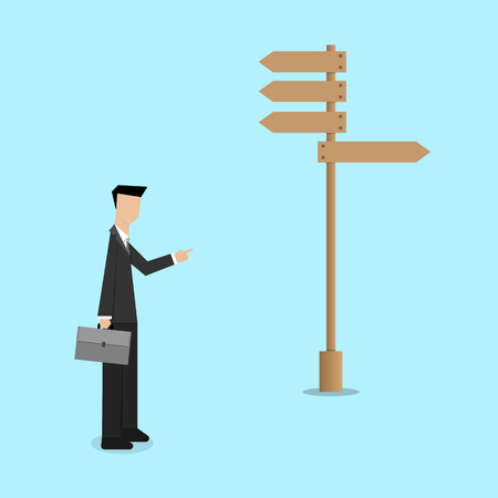 way to go: business consultant guide the only way to go  decision concept Illustration