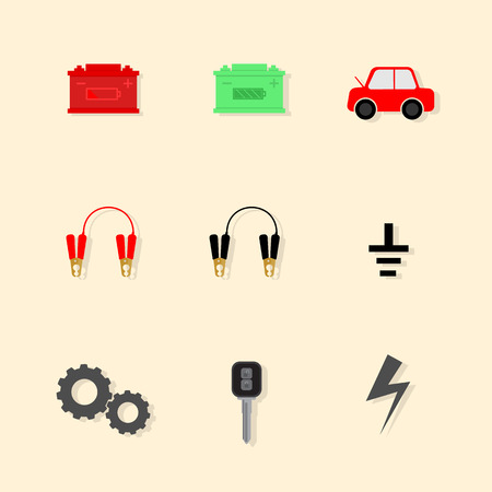 emergency engine: icon design for battery jump start car Illustration