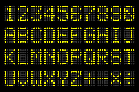 info board: digital  letters and numbers display board for airport schedules, train timetables, scoreboard etc.