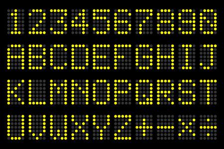 nombres: lettres num�riques et les num�ros panneau d'affichage pour les horaires de l'a�roport, les horaires des trains, tableau de bord, etc.