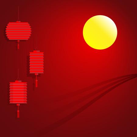 papierlaterne: Chinesische Papierlaterne f�r Mid Autumn Festival Mond Hintergrund Illustration