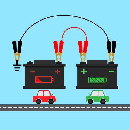 how to: how to jump start battery car infographic Illustration