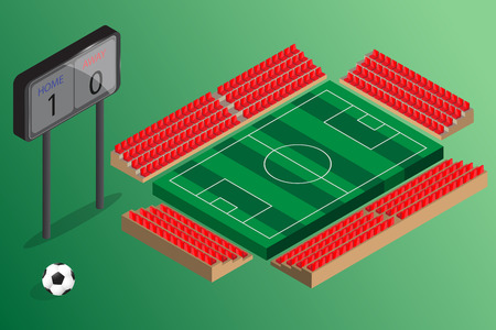 score board: empty soccer field outdoor stadium with red seat and score board Illustration