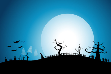 halloween background: Halloween night background cemetery with white full moon cool sky