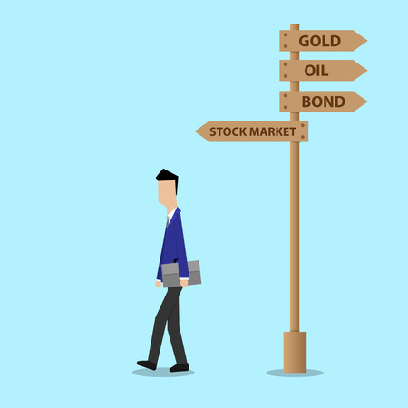 businessman walking: businessman walking to stock market investment decision concept
