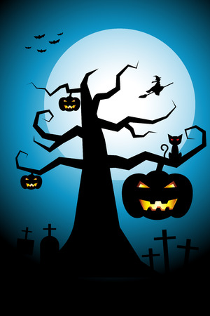halloween background: Halloween night background flying witch over cemetery on white full moon cool sky