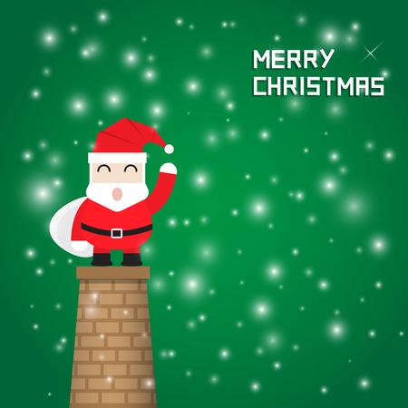 flue: santa claus stand on chimney chrismas background