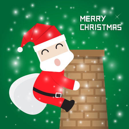chimney: Santa Claus climbing chimney on green background with snow