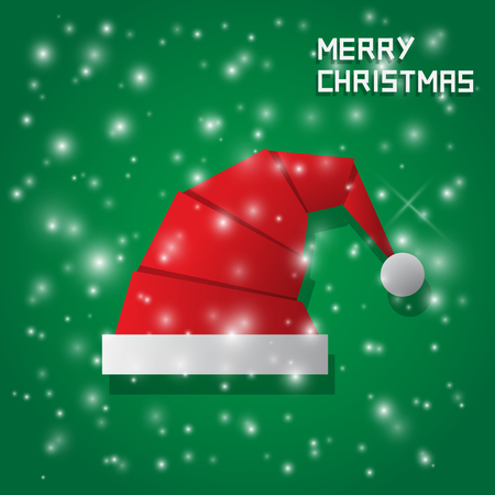chrismas background: chrismas hat with snow on green background