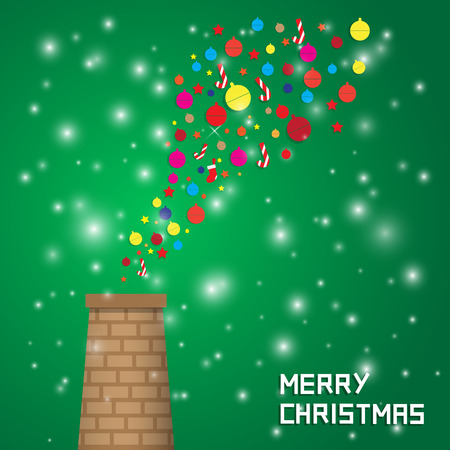 chrismas background: fly out decoration from chimney Chrismas background