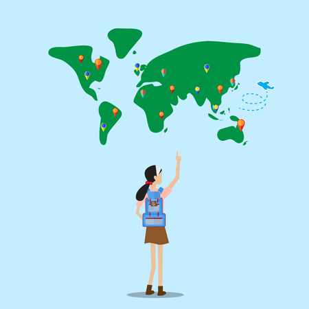 backpacker: backpacker girl  stand in front of world map selecting destination to go Illustration