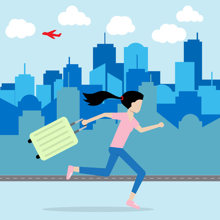 woman running and hold luggage on hand escape from city