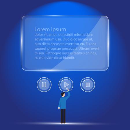 botton: businessman push play botton with transparent screen Illustration