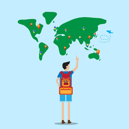 backpacker: backpacker stand in front of world map selecting destination to go