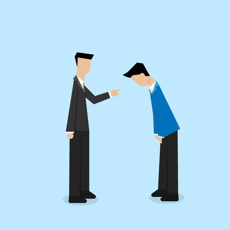 obedecer: jefe quejándose su empleado carácter cara vacía