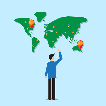 pin point: businessman stand infront of world map with navigator pin point to the target