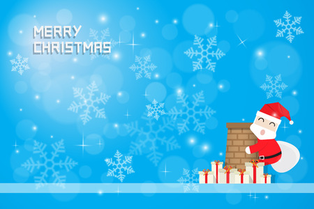 smokestack: snow flake and santa claus climbing chimney with gift boxes on blue background