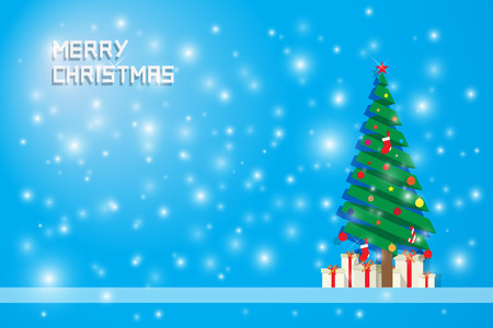 chrismas background: blurred snow and chrismas tree with gift boxes on blue background