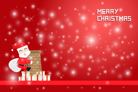 snow climbing: snow flake and santa claus climbing chimney with gift boxes on red background