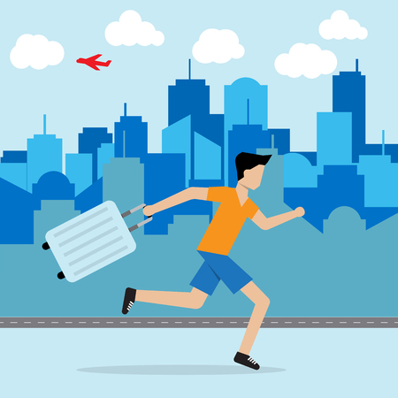 haste: man running and hold luggage on hand escape from city