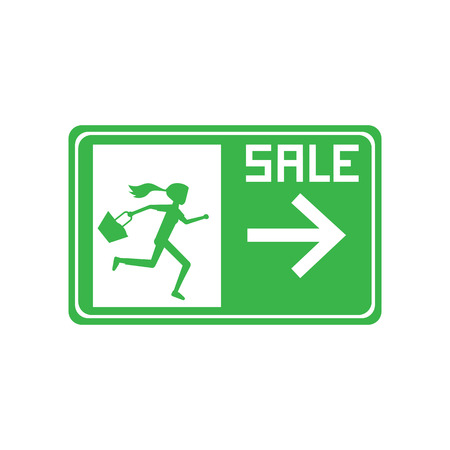 haste: green sign tag woman carry bag running to exit door rush out for sale promotion