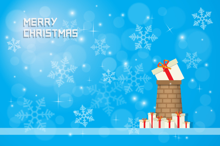 snow flake: snow flake and chrismas present on  chimney with gift boxes on blue background