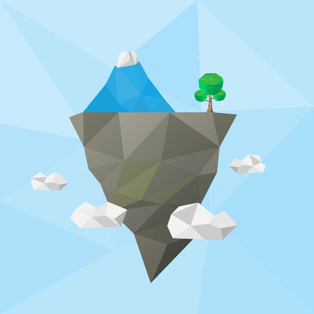 floating island: low poly floating island in the air with iceberg and tree Illustration