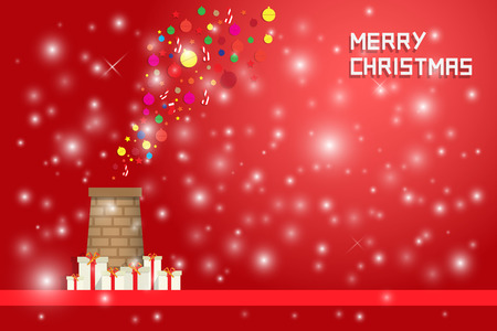 chrismas background: snow flake and chrismas decorated fly out from chimney with gift boxes on red background Illustration