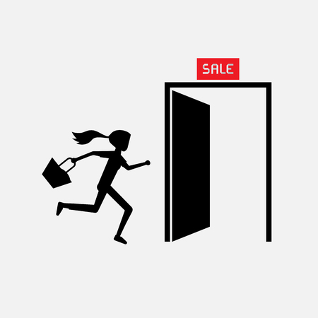exit door: silhouette woman carry bag running to exit door rush out for sale promotion Illustration