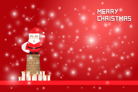 smokestack: snow flake and santa claus standing on chimney with gift boxes on red background Illustration